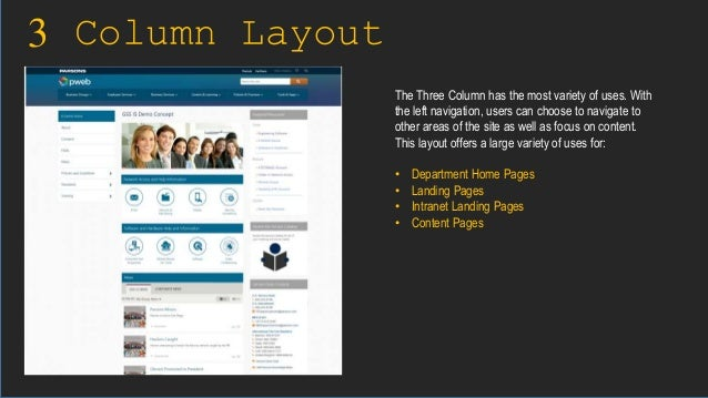 3 Column Layout The Three Column has the most variety of uses. With the left navigation, users can choose to navigate to o...