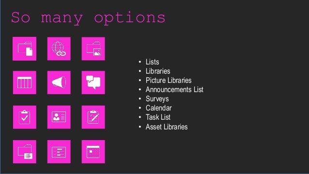 So many options • Lists • Libraries • Picture Libraries • Announcements List • Surveys • Calendar • Task List • Asset Libr...