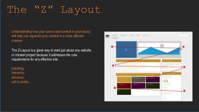 """The """"Z"""" Layout The Z-Layout is a great way to start just about any website or intranet project because it addresses the co..."""