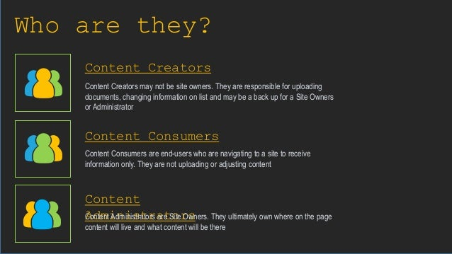 Who are they? Content Creators Content Consumers Content Administrators Content Creators may not be site owners. They are ...