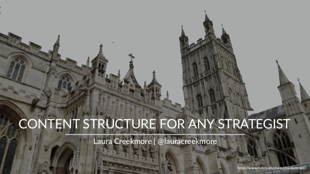CONTENT STRUCTURE FOR ANY STRATEGIST Laura Creekmore | @lauracreekmore https://www.flickr.com/photos/londonmatt/
