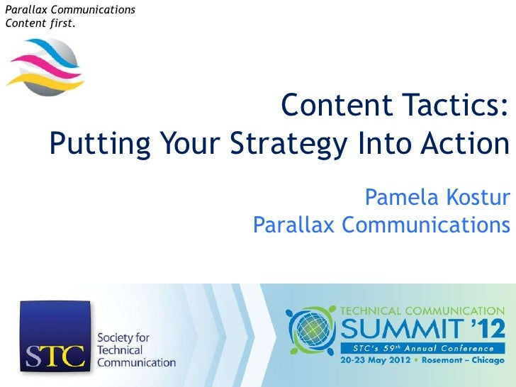 Parallax CommunicationsContent first.                        Content Tactics:       Putting Your Strategy Into Action     ...