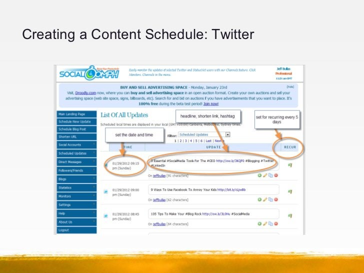 Creating a Content Schedule: Twitter