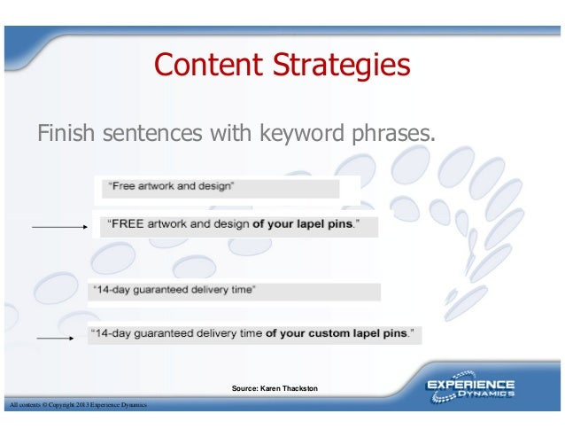 Content StrategiesFinish sentences with keyword phrases.All contents © Copyright 2013 Experience DynamicsSource: Karen Tha...