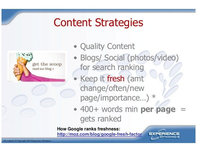 Content Strategies• Quality Content• Blogs/ Social (photos/video)for search ranking• Keep it fresh (amtAll contents © Copy...