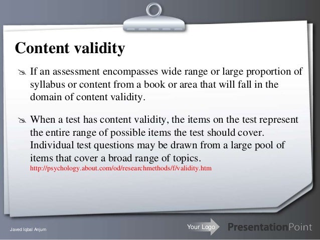 Content Validity Example Content Validity Extraordinary Project On