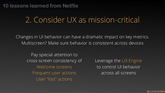 10 lessons learned from Netflix  3. Personalize UX as much as possible