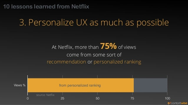 10 lessons learned from Netflix  3. Personalize UX as much as possible  User's attention span is very limited  The first 8...