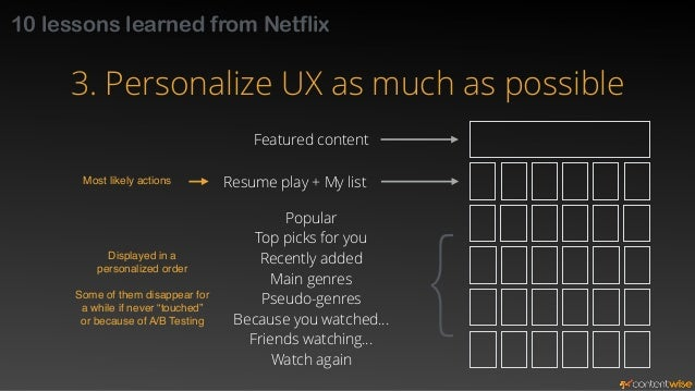 10 lessons learned from Netflix  3. Personalize UX as much as possible  Personalized reordering may be  disorienting for s...