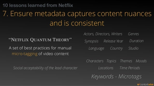 10 lessons learned from Netflix  7. Ensure metadata captures content nuances  and is consistent  Let users search for cont...