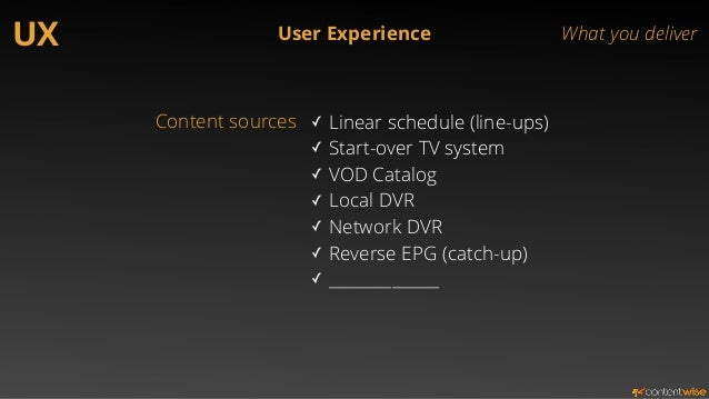 UX User Experience What you deliver  Entitlements ✓ S-VOD packages  ✓ Rented movies  ✓ Purchased movies  ✓ Purchased seaso...