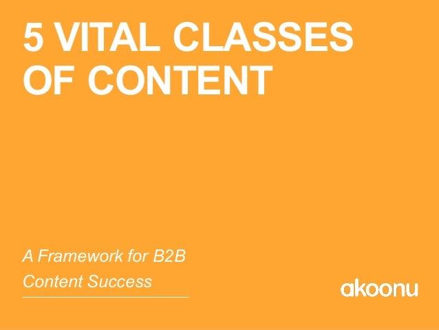 5 VITAL CLASSES OF CONTENT A Framework for B2B Content Success
