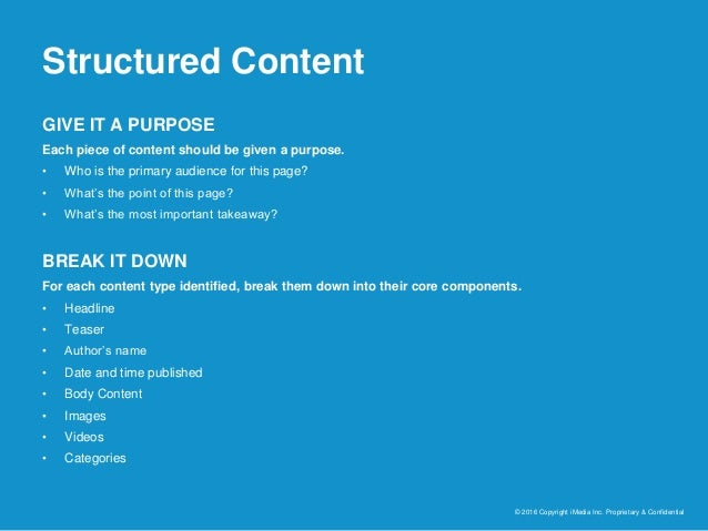 Structured Content © 2016 Copyright iMedia Inc. Proprietary & Confidential GIVE IT A PURPOSE Each piece of content should ...