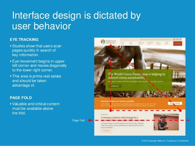Interface design is dictated by user behavior © 2016 Copyright iMedia Inc. Proprietary & Confidential EYE TRACKING  Studi...