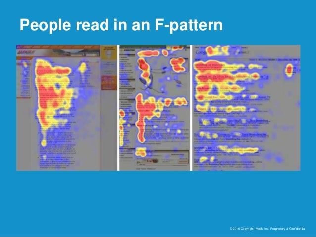 People read in an F-pattern © 2016 Copyright iMedia Inc. Proprietary & Confidential
