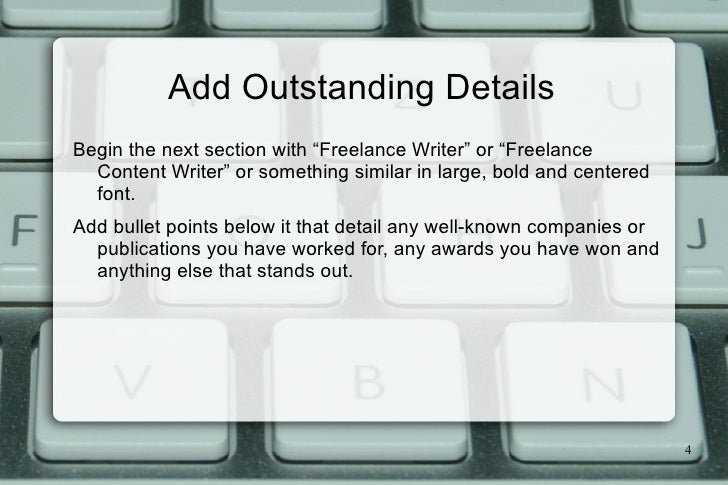 4. A Content Writer Resume ...  Freelance Writer Resume Sample
