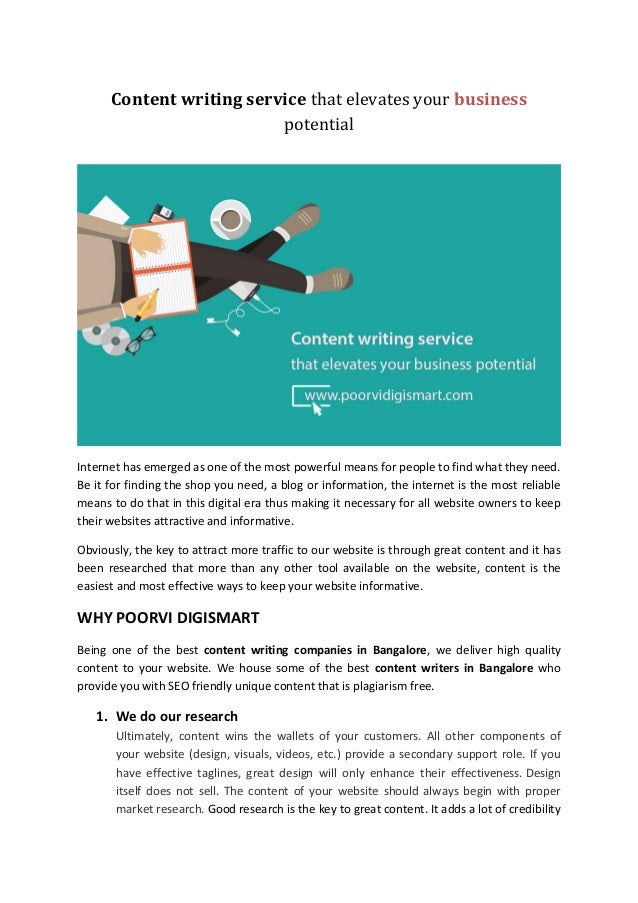 Content Writing Service That Elevates Your Business Potential Content Writing Service That Elevates Your Business Potential Internet Has  Emerged As One Of The Most