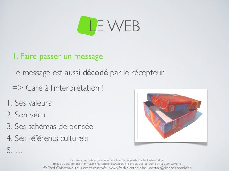 LE WEB 1. Faire passer un message Le message est aussi décodé par le récepteur => Gare à l'interprétation !1. Ses valeurs2...
