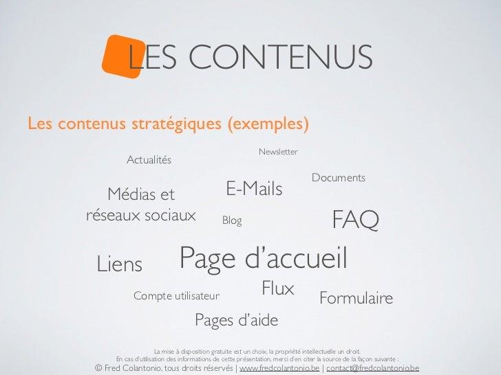 LES CONTENUSLes contenus stratégiques (exemples)                                                                    Newsle...