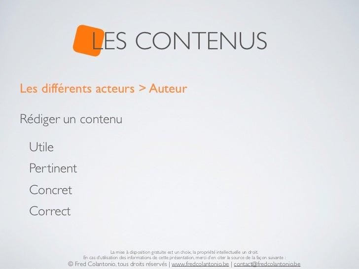 LES CONTENUSLes différents acteurs > AuteurRédiger un contenu Utile Pertinent Concret Correct                             ...