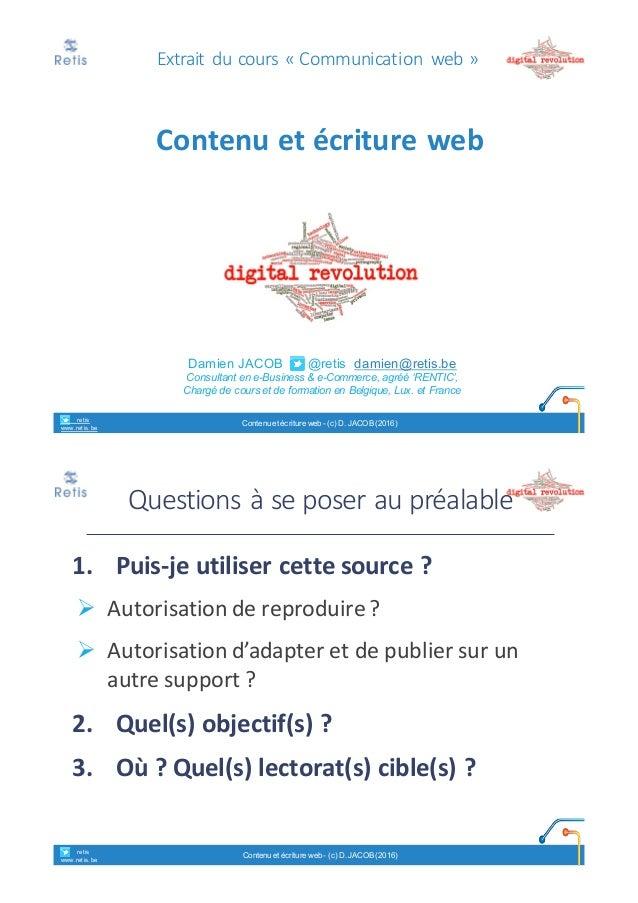 Damien'JACOB'''''''@retis''damien@retis.be Consultant)en)e!Business'&'e!Commerce,(agréé('RENTIC', Chargé'de'cours'et'de'fo...