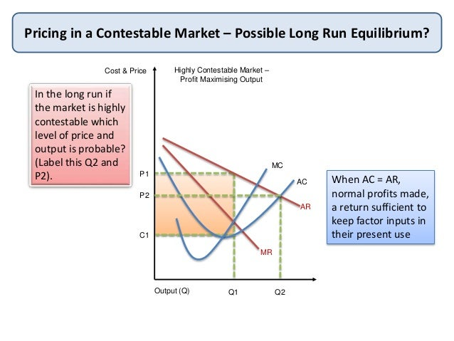 contestability of a market What is a 'contestable market theory' a contestable market theory is an economic concept that refers to a market in which there are only a few companies that, because of the threat of new entrants, behave in a competitive manner the contestable market theory assumes that even in a monopoly or.