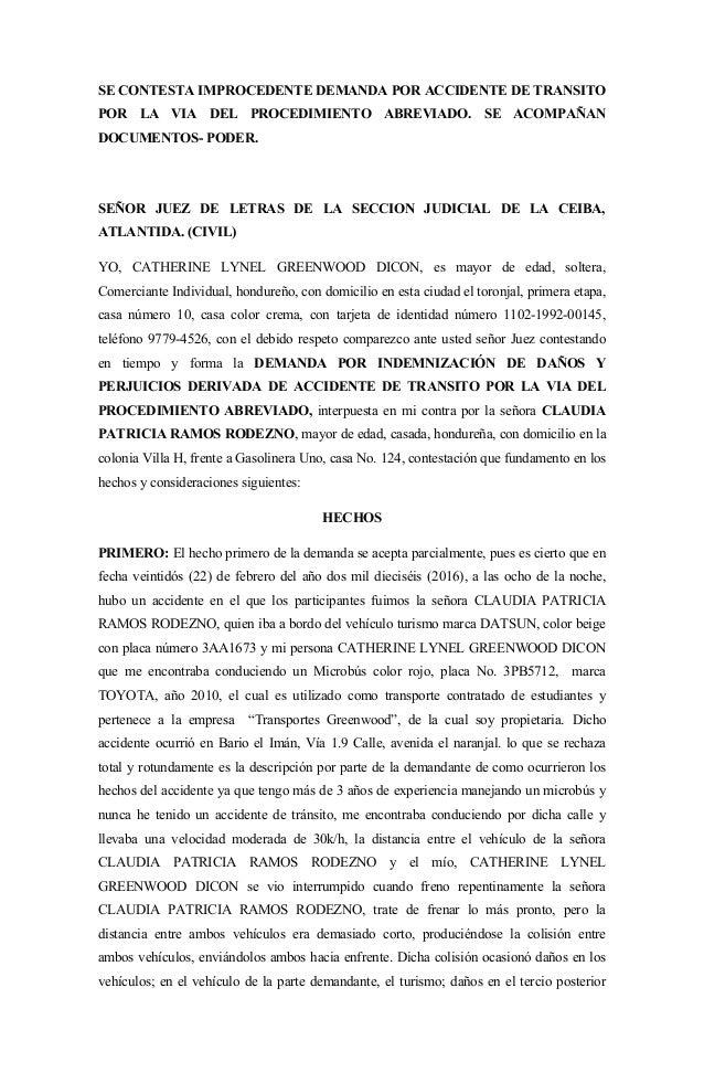 Contestacion de accidente de transito for Modelo acuerdo extrajudicial clausula suelo