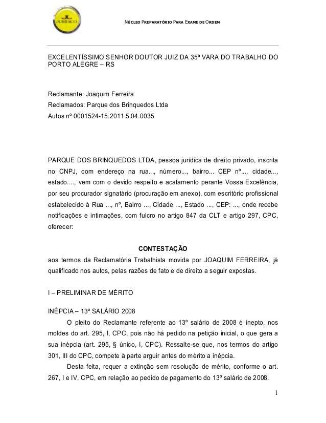 NÚCLEO PREPARATÓRIO PARA EXAME DE ORDEM 1 EXCELENTÍSSIMO SENHOR DOUTOR JUIZ DA 35ª VARA DO TRABALHO DO PORTO ALEGRE – RS R...