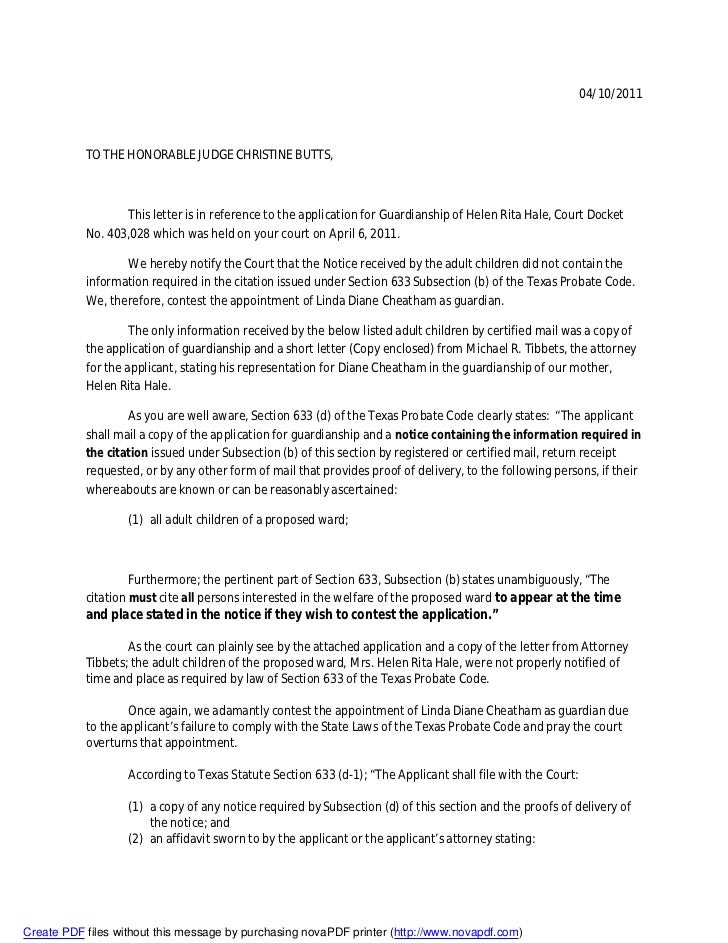 04/10/2011           TO THE HONORABLE JUDGE CHRISTINE BUTTS,                  This letter is in reference to the applicati...