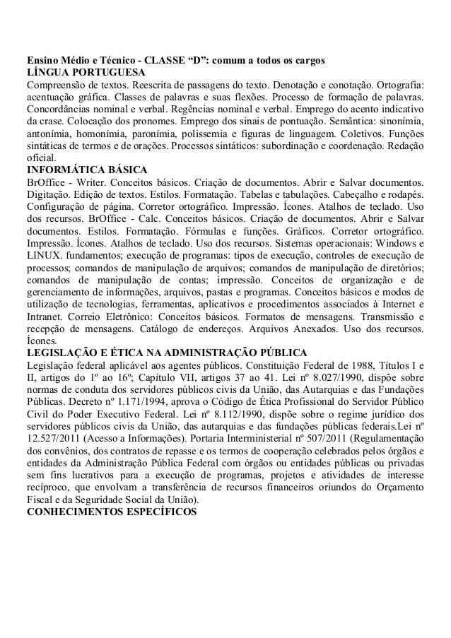 """Ensino Médio e Técnico - CLASSE """"D"""": comum a todos os cargos LÍNGUA PORTUGUESA Compreensão de textos. Reescrita de passage..."""