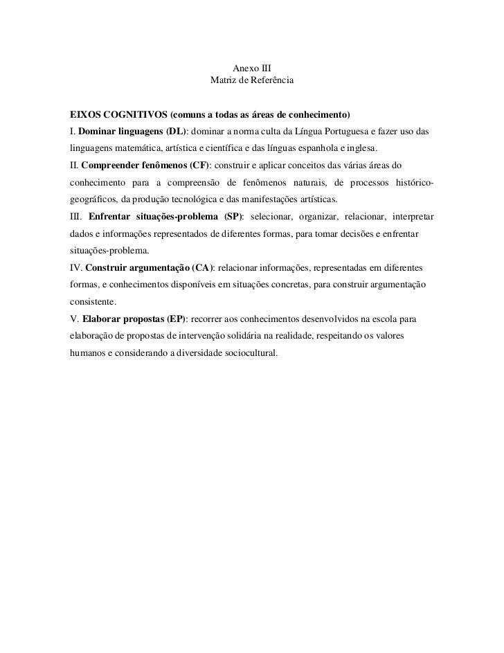 Anexo III                                    Matriz de ReferênciaEIXOS COGNITIVOS (comuns a todas as áreas de conhecimento...