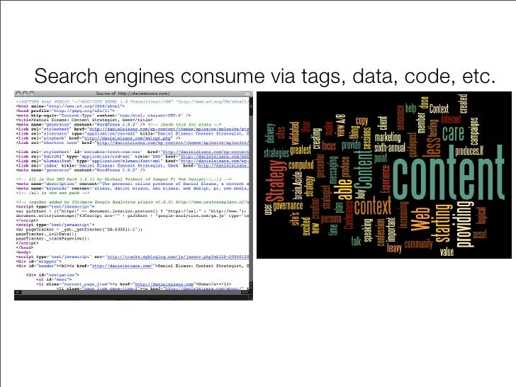 Search engines consume via tags, data, code, etc.