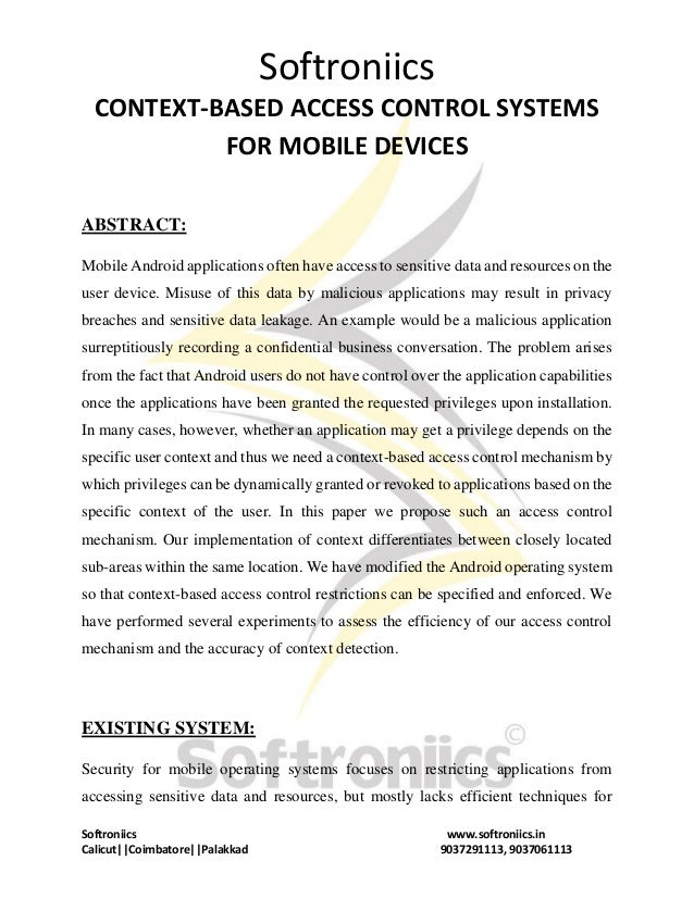 Softroniics Softroniics www.softroniics.in Calicut  Coimbatore  Palakkad 9037291113, 9037061113 CONTEXT-BASED ACCESS CONTR...