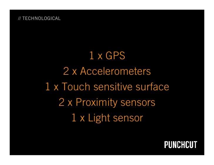 // TECHNOLOGICAL                         1 x GPS               2 x Accelerometers           1 x Touch sensitive surface   ...
