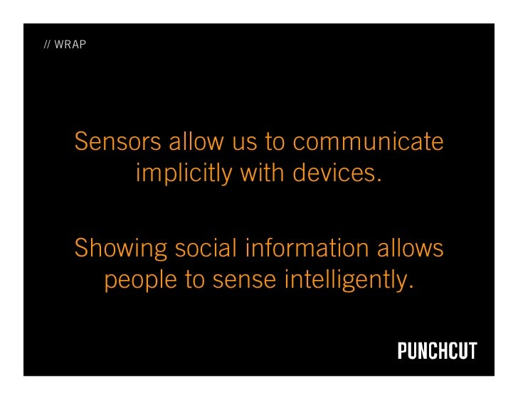 // WRAP          Sensors allow us to communicate           implicitly with devices.       Showing social information allow...