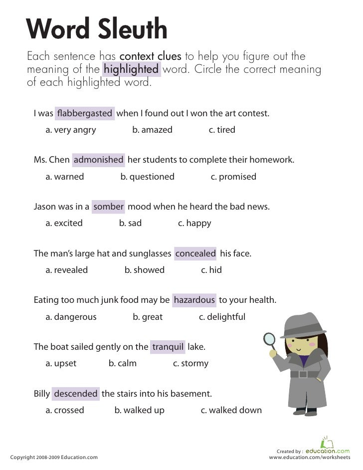 5Th Grade Context Clues Worksheet Free Worksheets Library ...
