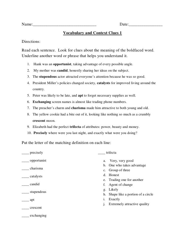 Vocabulary Context Clues Worksheets Davezan – Context Clues Worksheets Multiple Choice