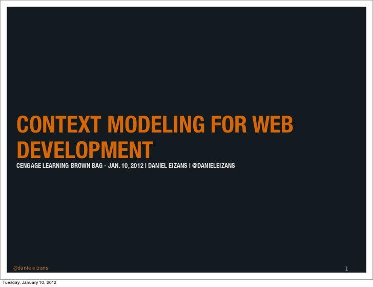 CONTEXT MODELING FOR WEB      DEVELOPMENT      CENGAGE LEARNING BROWN BAG - JAN. 10, 2012 | DANIEL EIZANS | @DANIELEIZANS ...