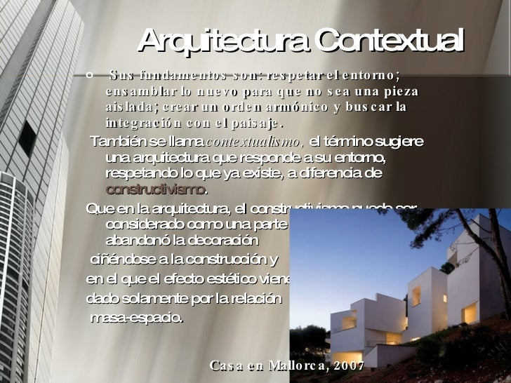 Arquitectura y contexto for Arquitectura definicion