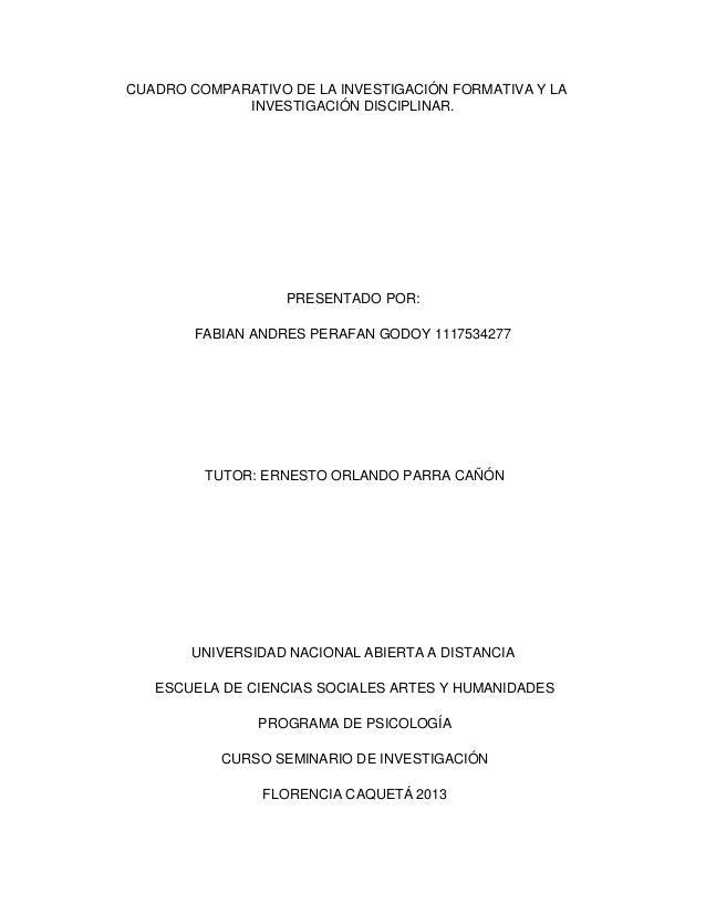 CUADRO COMPARATIVO DE LA INVESTIGACIÓN FORMATIVA Y LA INVESTIGACIÓN DISCIPLINAR.  PRESENTADO POR: FABIAN ANDRES PERAFAN GO...