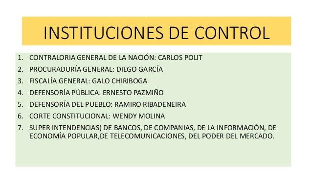INSTITUCIONES DE CONTROL 1. CONTRALORIA GENERAL DE LA NACIÓN: CARLOS POLIT 2. PROCURADURÍA GENERAL: DIEGO GARCÍA 3. FISCAL...