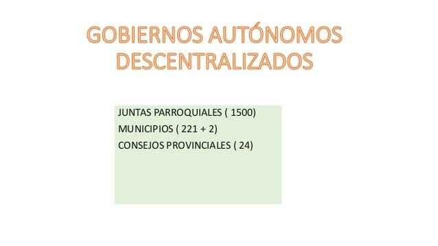 JUNTAS PARROQUIALES ( 1500) MUNICIPIOS ( 221 + 2) CONSEJOS PROVINCIALES ( 24)