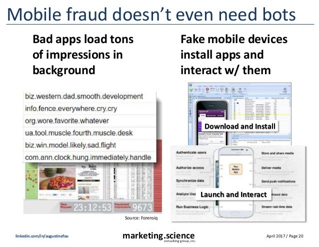 April 2017 / Page 20marketing.scienceconsulting group, inc. linkedin.com/in/augustinefou Mobile fraud doesn't even need bo...