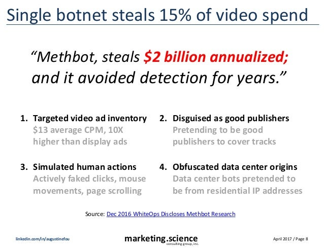 April 2017 / Page 8marketing.scienceconsulting group, inc. linkedin.com/in/augustinefou Single botnet steals 15% of video ...
