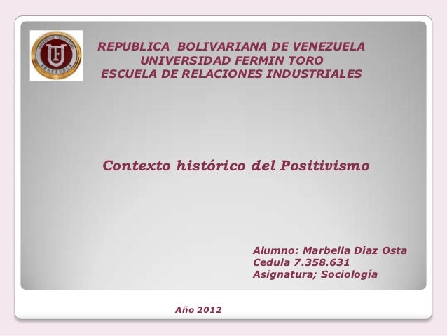REPUBLICA BOLIVARIANA DE VENEZUELA     UNIVERSIDAD FERMIN TOROESCUELA DE RELACIONES INDUSTRIALESContexto histórico del Pos...