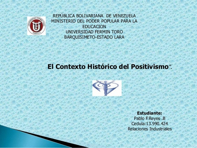 REPÚBLICA BOLIVARIANA DE VENEZUELA MINISTERIO DEL PODER POPULAR PARA LA              EDUCACION       UNIVERSIDAD FERMIN TO...