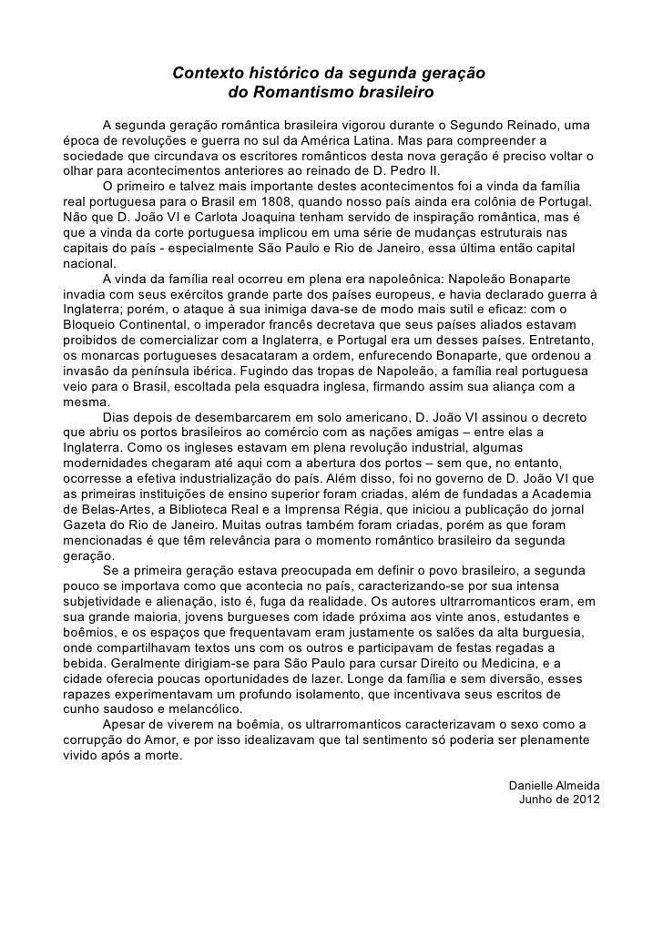 Contexto histórico da segunda geração                        do Romantismo brasileiro       A segunda geração romântica br...