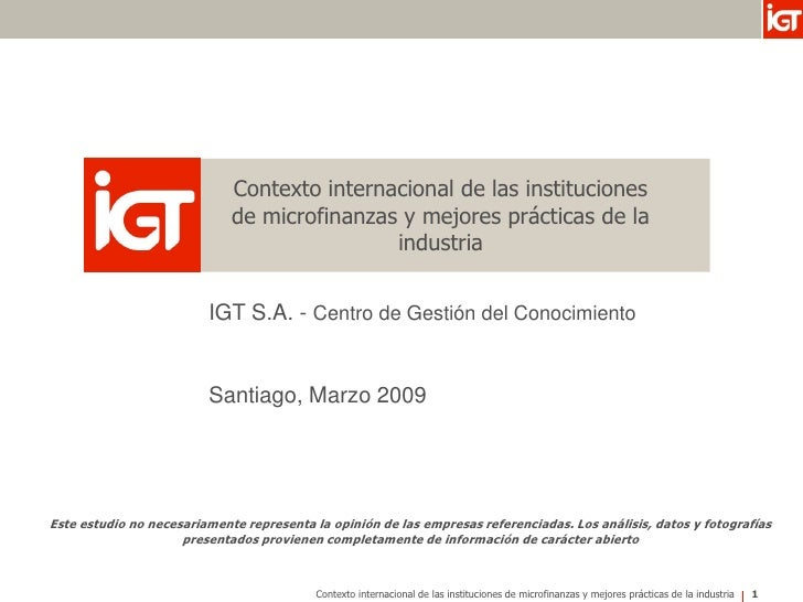 Contexto internacional de las instituciones                              de microfinanzas y mejores prácticas de la       ...