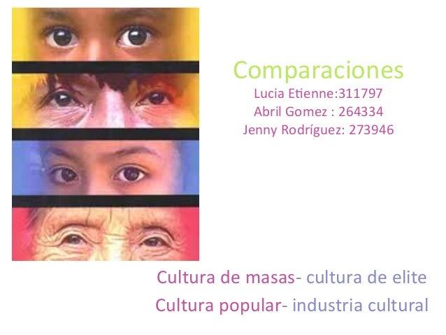 Comparaciones   Lucia  E0enne:311797   Abril  Gomez  :  264334   Jenny  Rodríguez:  273946   Cultura ...