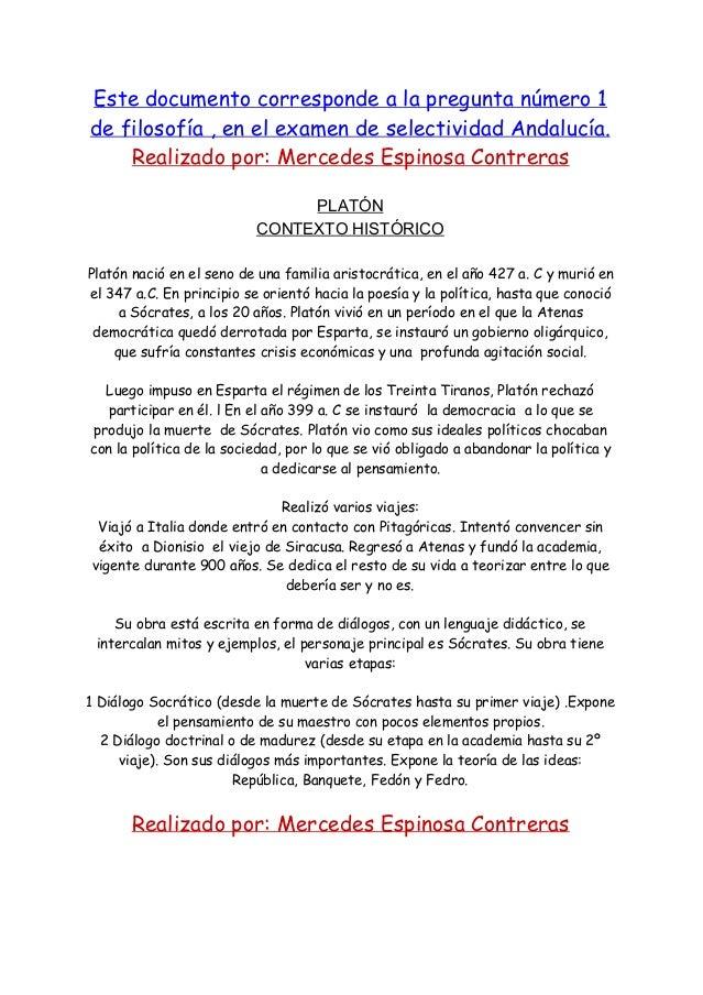 Este documento corresponde a la pregunta número 1 de filosofía , en el examen de selectividad Andalucía. Realizado por: Me...